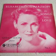 Discos de vinilo: ELISABETH SCHWARZKOPF WITH GERALD MOORE PIANO (DRINK TO ME ONLY WITH THINE EYES - PLAISIR D'AMOUR. Lote 34313405