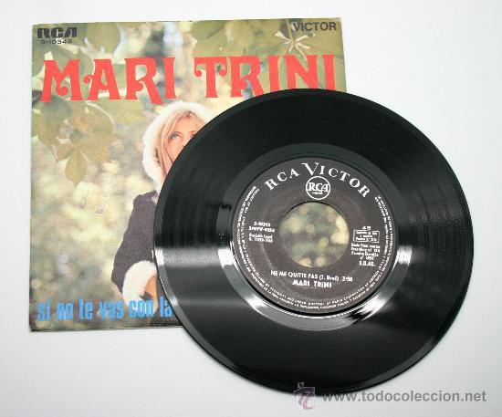 Discos de vinilo: Mari Trini. Si no te vas con la tarde - Ne me quitte pas. SG RCA 1968. - Foto 2 - 34310770