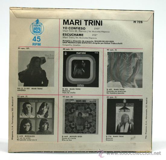 Discos de vinilo: Mari Trini. Mañana - Vals de Otoño. Single 1969. Hispa Vox. - Foto 2 - 34312152