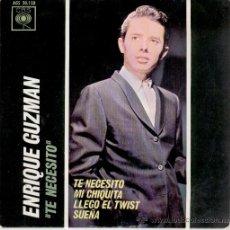 Discos de vinilo: ENRIQUE GUZMAN - LLEGO EL TWIST - TE NECESITO + 2 - EP SPAIN 1963 - EX / EX . Lote 34326305