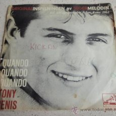 Discos de vinilo: TONY RENIS 'SAN REMO 1962' ( QUANDO, QUANDO, QUANDO - BLU ) SWEDEN SINGLE45 HMV. Lote 34381962