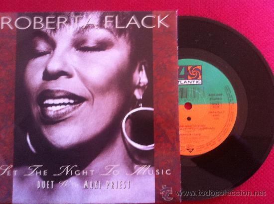 """7""""SINGLE-ROBERTA FLACK-SET THE NIGHT TO MUSIC (Música - Discos - Singles Vinilo - Pop - Rock Extranjero de los 90 a la actualidad)"""
