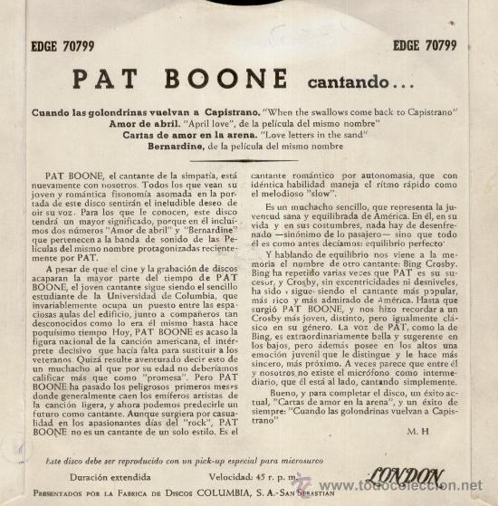 Discos de vinilo: PAT BOONE - CUANDO LAS GOLONDRINAS VUELVAN A CAPISTRANO - EP SPAIN 1958 - EX / VG++ - Foto 2 - 34454425
