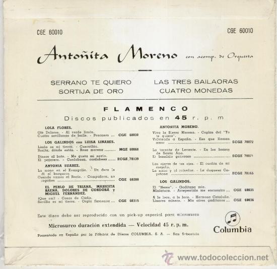 Discos de vinilo: ANTOÑITA MORENO - SERRANO TE QUIERO - SORTIJA DE ORO + 2 - EP SPAIN 1958 - PRACTICAMENTE NUEVO - Foto 2 - 34455590