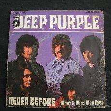 Discos de vinilo: SINGLE DEEP PURPLE // NEVER BEFORE + 1. Lote 34467585