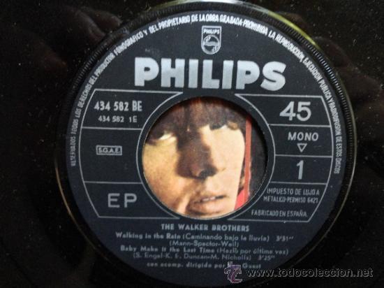 Discos de vinilo: THE WALKER BROTHERS WALKING IN THE RAIN + 3 SPANISH EP 1967. PHILIPS. - Foto 3 - 34483140