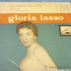 Discos de vinilo: GLORIA LASSO: LA FIESTA DEL CAFE, SOLO A TI, MARINGA, ÇA C`EST L`AMOUR + REGALO DE UN REPORTAJE 1957. Lote 34490880