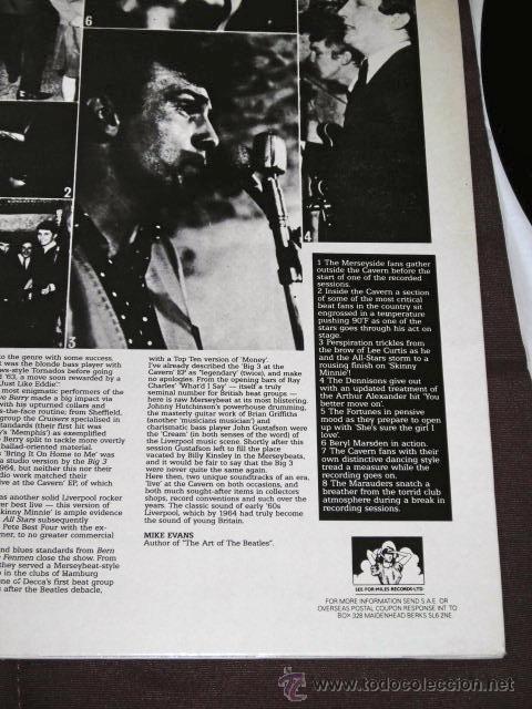 Discos de vinilo: LP EN DIRECTO CAVERN BEATLES LIVERPOOL SOUND BEAT EDITADO POR MILES U.K 1985 - Foto 5 - 34510177