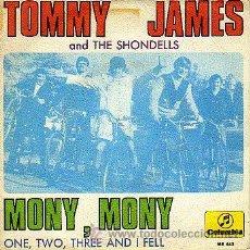 Discos de vinil: TOMMY JAMES & THE SHONDELLS 7' SG MONY, MONY +1, SPANISH EDIT. Lote 34512157