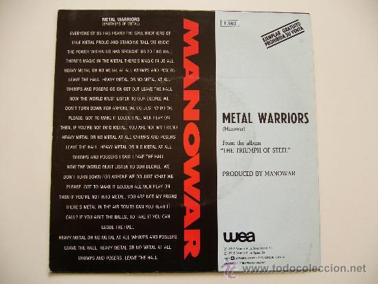 Discos de vinilo: Manowar. 7 Single. Metal warriors. Edición española promocional - Foto 2 - 34603492
