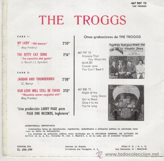 Discos de vinilo: THE TROGGS - THE KITTY CAT SONG - MY LADY + 2 - EP SPAIN 1967 - EX / EX - Foto 2 - 34645790