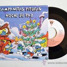 Discos de vinilo: LOS PITUFOS - CAMPANITAS PITUFAS/NOCHE DE PAZ ¡¡NUEVO!! (VICTORIA SINGLE 1985) ESPAÑA . Lote 34671488
