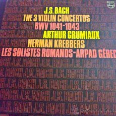 Discos de vinilo: BACH, THE 3 VIOLIN CONCERTOS - VIOLINES: ARTHUR GRUMIAUX, HERMAN KREBBERS, LES SOLISTES ROMANDS - LP. Lote 34677301