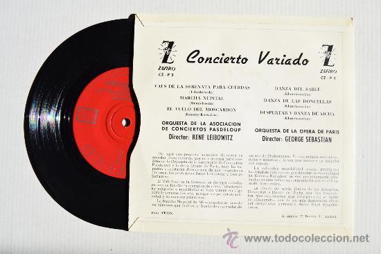 Discos de vinilo: CONCIERTO VARIADO-ORQ. AS. CONCIERTOS PASDELOUP-ORQ.OPERA DE PARIS ¡¡NUEVO!! (ZAFIRO EP 1959) ESPAÑA - Foto 2 - 34794276