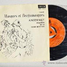 Disques de vinyle: MASQUES ET BERGAMASQUES - ERNEST ANSERMET/ORQ. SUISSE ROMANDE ¡¡NUEVO!! (DECCA EP 1965) ESPAÑA. Lote 34812704