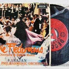Discos de vinilo: KARAJAN - DIE FLEDERMAUS JOHANN STRAUSS ¡¡NUEVO!! (DECCA EP 1963) ESPAÑA. Lote 34813145