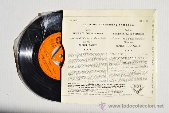 Discos de vinilo: SERIE DE OBERTURAS FAMOSAS - Auber/Berlioz ¡¡NUEVO!! (DECCA EP 1960) ESPAÑA - Foto 2 - 34848233