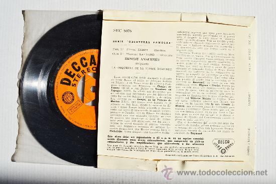 Discos de vinilo: SERIE DE OBERTURAS FAMOSAS - ERNEST ANSERMET ¡¡NUEVO!! (DECCA EP 1960) ESPAÑA - Foto 2 - 34851499