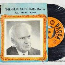 Discos de vinilo: WILHELM BACKHAUS - BACH/BRAHMS/HAYDN ¡¡NUEVO!! (DECCA EP 1960) ESPAÑA. Lote 34851571