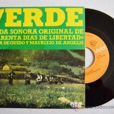 Discos de vinilo: CUARENTA DIAS DE LIBERTAD (BSO) VERDE - OLIVER ONIONS ¡¡NUEVO!! (RCA SINGLE 1976) ESPAÑA. Lote 34908408