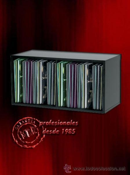 Modulo Estanteria De Madera Para Guardar 100 Singles Color Negro