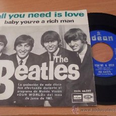 Dischi in vinile: THE BEATLES (ALL YOU NEED IS LOVE +1 ) SINGLE ESP 1967 DSOL 66073 (EPI18). Lote 34939064