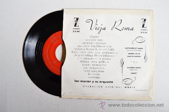 Discos de vinilo: LEN MERCER Y SU ORQUESTA - VIEJA ROMA ¡¡SIN USAR!! (ZAFIRO EP 1959) ESPAÑA - Foto 2 - 34964205