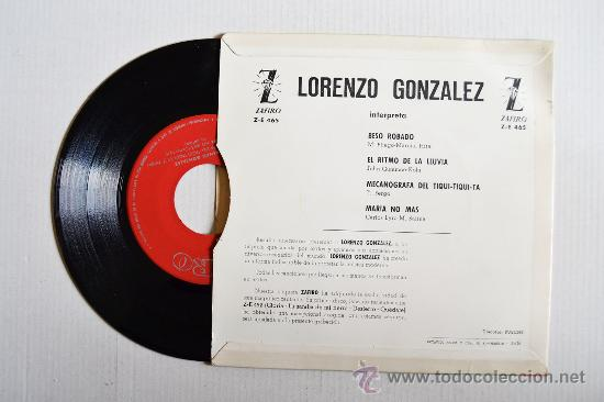 Discos de vinilo: LORENZO GONZALEZ - Mecanografa del tiqui-tiquita… ¡¡NUEVO!! (ZAFIRO EP 1963) ESPAÑA - Foto 2 - 34976424