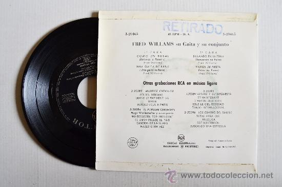 Discos de vinilo: FRED WILLIAMS SU GAITA Y SU CONJUNTO ¡¡NUEVO!! (RCA EP 1962) ESPAÑA - Foto 2 - 34976444