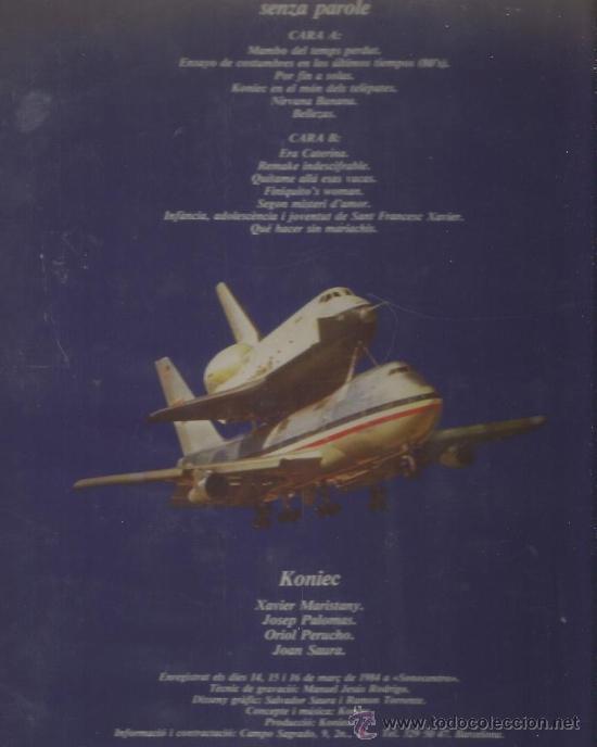 Discos de vinilo: LP KONIEC : SENZA PAROLE (XAVIER MARISTANY, JOSEP PALOMAS, ORIOL PERUCHO, JOAN SAURA ) - Foto 2 - 35013821
