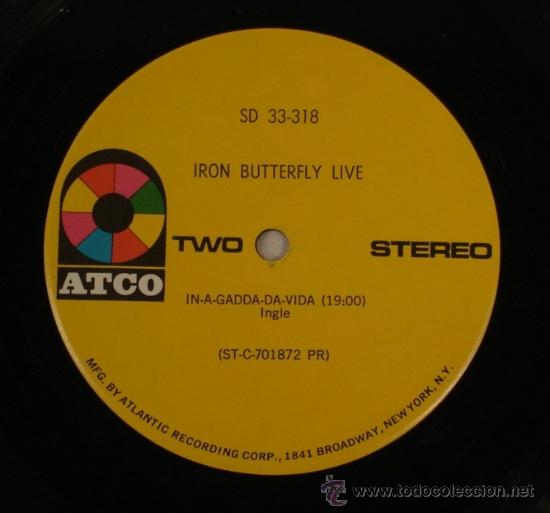 Discos de vinilo: IRON BUTTERFLY / iron butterfly live 1967 ATCO - In-A-Gadda-Da-Vida ..ORIG EDIT USA, !! EXCELENTE !! - Foto 6 - 48304733