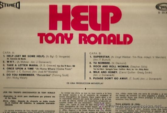 Discos de vinilo: LP TONY RONALD HELP - Foto 2 - 35044493