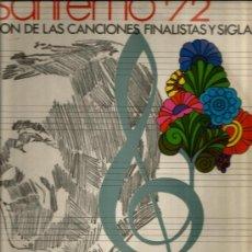 Disques de vinyle: LP ORQUESTA FRANK POURCEL : FESTIVAL SAN REMO 72, SELECCION DE CANCIONES FINALISTAS . Lote 35055462