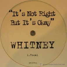 Discos de vinilo: WHITNEY MAXIXINGLE IT'S NOT RIGHT BUT IT'S OKAY 1998 PROMO – ADP-3578 WHITNEY HOUSTON. Lote 35057612