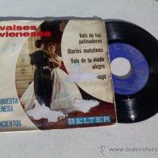 Discos de vinilo: VALSES VIENESES.VALS DE LOS PATINADORES.DIARIOS MATUTINOS.VALS DE LA VIUDA ALEGRE .EL MURCIELAGO.. Lote 35068119