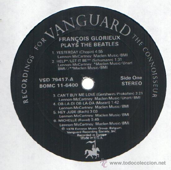 Discos de vinilo: beatles,the,francois glorieux / plays the beatles 1978 ( RARO TRIBUTO !! USA EDIT. !! EXCELENTE !!! - Foto 2 - 35071822