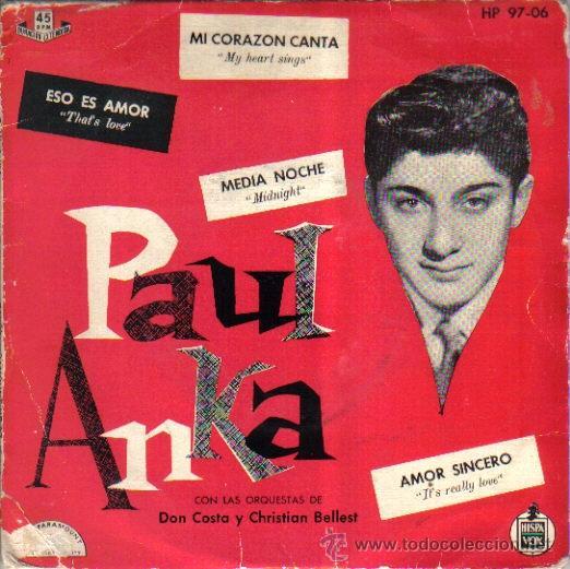 X- PAUL ANKA...EP-1959 MADE IN SPAIN ( 59 AÑOS ANTIGUEDAD ) (Música - Discos de Vinilo - EPs - Otros estilos)