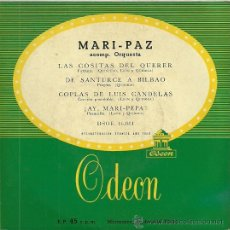 Discos de vinilo: MARI-PAZ EP SELLO ODEON AÑO 1956 EDITADO EN ESPAÑA. Lote 35115849