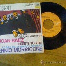 Discos de vinilo: JOAN BAEZ. HERE´S TO YOU.LA BATALLA DI SACCO E VANZETTI. Lote 35134944