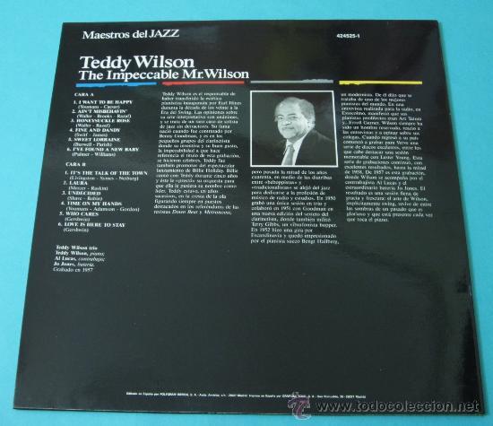 Discos de vinilo: TEDDY WILSON. THE IMPECCABLE MR. WILSON - Foto 2 - 35169934