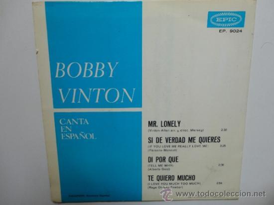 Discos de vinilo: BOBBY VINTON - MR. LONELY + 3 - SPANISH EP 1965 EPIC. NEAR MINT. COMO NUEVO. - Foto 2 - 35283072