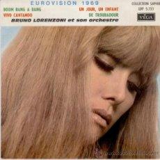 Discos de vinilo: EUROVISION 1969 - BRUNO LORENZONI ET SON ORCHESTRE -EP FRANCE EX / EX. Lote 35288502