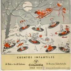 Discos de vinilo: CUENTOS INFANTILES - CUADRO ACTORES RADIO MADRID - EL DOCTOR SABELOTODO - ALI BABA Y LOS 40 LADRONES. Lote 104670295