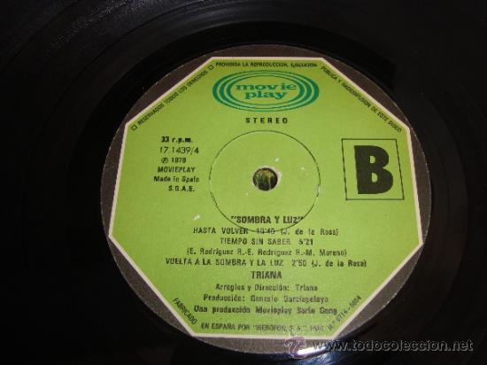 Discos de vinilo: LP TRIANA SOMBRA Y LUZ PRODUCCION MOVIE PLAY SERIE GONG 1979, PORTADA DOBLE de MAXIMO MORENO - Foto 3 - 35329167