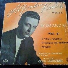 Discos de vinilo: ALFREDO KRAUS, ROMANZAS VOL.4. EL ÚLTIMO ROMÁNTICO, EL HUÉSPED DEL SEVILLANO,KATIUSKA. SOROZÁBAL. EP. Lote 35339114