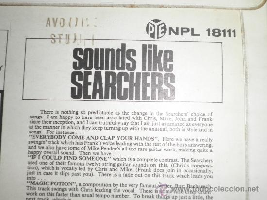 Discos de vinilo: THE SEARCHERS - SOUNDS LIKE SEARCHERS LP- ORIGINAL INGLES - PYE RECORDS 1965 - MONO - - Foto 18 - 35390767