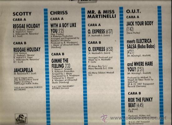 Discos de vinilo: 4 MAXIS SET: REGGAE HOLIDAY DISCO DANCE MIX : SOCOTTY, CHRISS, MR. MISS MARTINELLI , O.U.T. - Foto 2 - 35403266