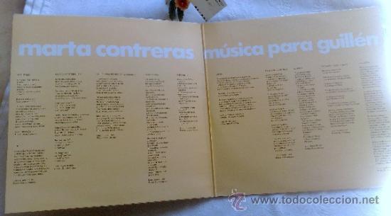 Discos de vinilo: AÑO 1977.- MARTA CONTRERAS.- MÚSICA PARA GUILLÉN - Foto 3 - 35437804