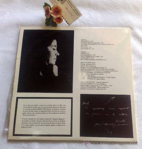 Discos de vinilo: AÑO 1977.- MARTA CONTRERAS.- MÚSICA PARA GUILLÉN - Foto 6 - 35437804