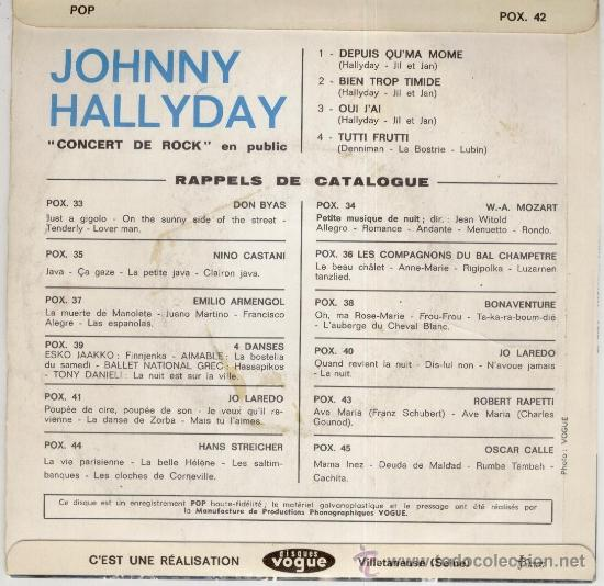 Discos de vinilo: JOHNNY HALLYDAY - ( CONCERT DE ROCK ) TUTTI FRUTTI + 3 - EP FRANCE CG++ / VG++ - Foto 2 - 35449071